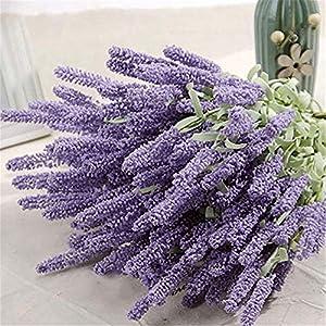 Shangwelluk – Ramo de Flores de Seda de Lavanda Artificial, 12 Cabezales, decoración para el hogar y el jardín