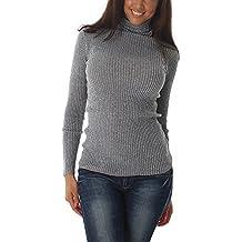 6a809ed2b93464 Voyelles Damen Feinstrick-Pullover Pulli Langarmshirt Sweatshirt mit Lamé  Glitzerfäden Glanzfaden Rollkragen Sweater dünn (