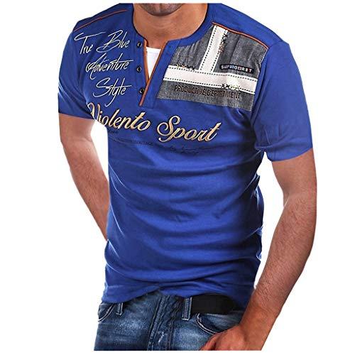 Butterfly Bio-kinder-t-shirt (Yvelands Herren Mode T-Shirt Buchstabe Knopf Persönlichkeit Hemd Kurzarm Bluse Tops(Blau,S))