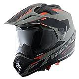 Astone Helmets - CROSS TOURER GRAPHIC ADVENTURE - Casque de motocross homologué en polycarbonate - Casque intégral polyvalent, 3 en 1 enduro route et trail - Matt grey/black XL