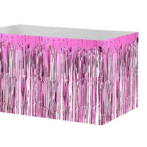 Lvbeis Metallic Fringe Foil Table Rock Tinsel Tabelle Vorhang für Luau Party-Geburtstags-Sommer-Jahrestag Weihnachten Tischdekoration,pink (Tabelle Röcke Fringe)