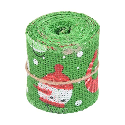 Happy Event 2M / 3M Weihnachts Jute Sackleinen Craft Ribbon Roll | Sewing Cartoon DIY Hochzeitsdekoration (2M, H)