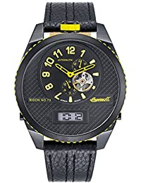 Ingersoll Bison No. 73Hombre Cuarzo automático reloj negro/amarillo in1716bbky
