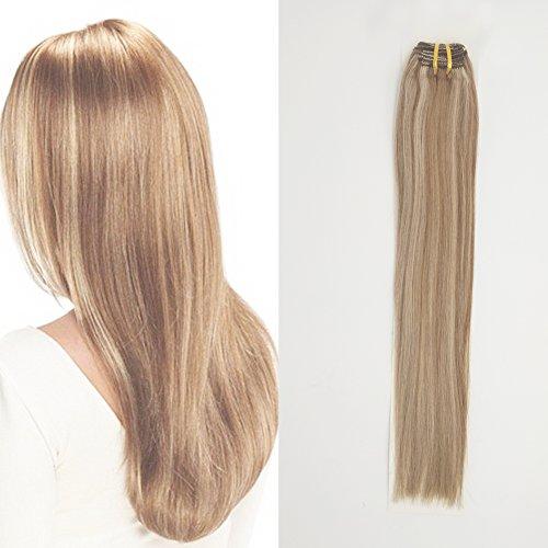 Komfami remy hair extension clip in hair extension capelli veri 100 grammi (45cm, #12/613 marrone dorato/bionda leggera)