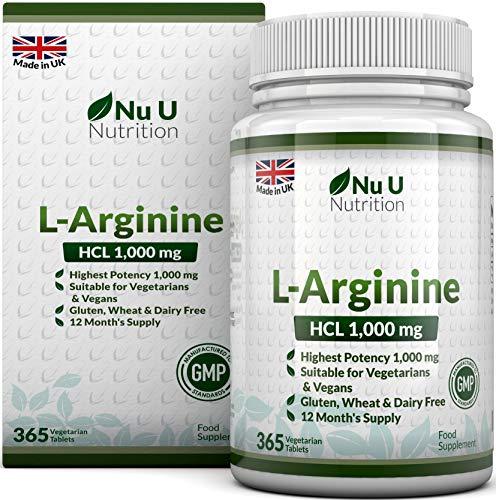 L-Arginin 4000 | 365 Vegetarische & Vegane Tabletten | Versorgung von L Arginin hochdosie HCL bis zu einem Jahr | 1000mg pro Tablette, Stärker als L-Arginin Kapseln der Konkurrenz | von Nu U Nutrition