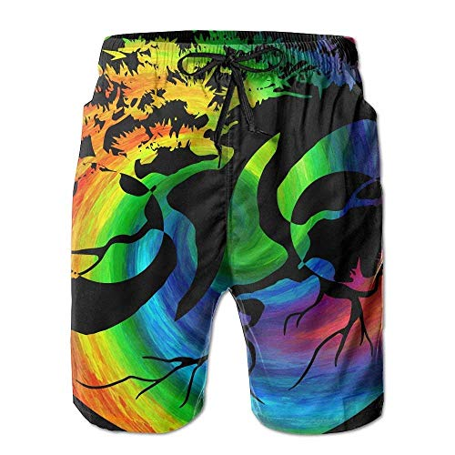 a4e652e078069 Desing shop Men's Yin Yang Bonsai Tree Japanese Tropical Quick Dry Board  Shorts Bathing Suits Swimwear Volley Beach Trunks Large
