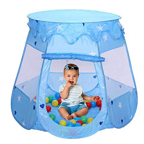 Henada Spielzelt Spielhaus mit 100 Bälle Kinderzelt Blau Bällchenpool Kinder Pool für drinnen und draußen