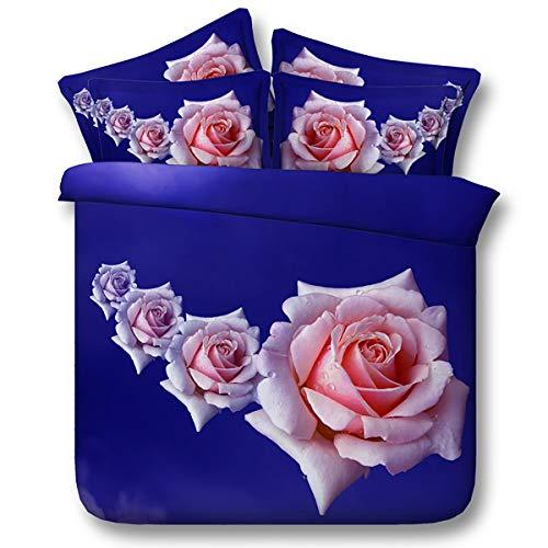 HUANZI H Lila Bettdecke, Rosa Rose Auf Lila, Mikrofaser Betten Satz Von Drei. Weiche und Komfortable, Purple, 200 * 225 (Baumwolle Land Tröster)