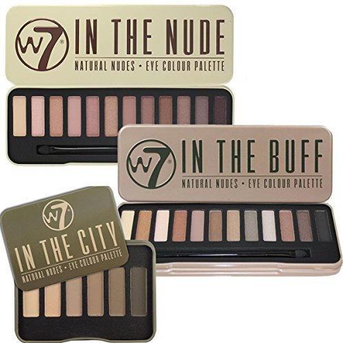 W7 Trio Eye Shadow Palette Collection In The Buff Natural Nudes, In The Nude & In The City - Nude Buff
