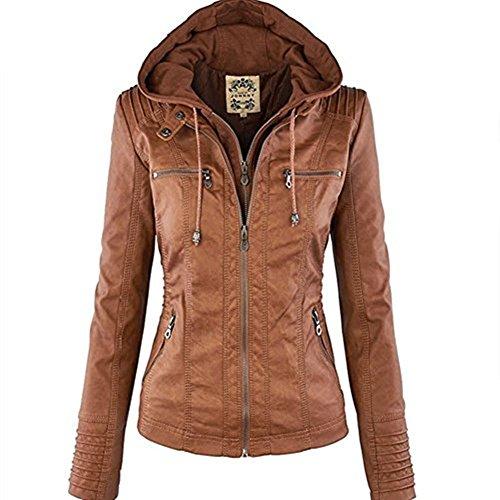Newbestyle Women Spring and Autumn Hooded Faux Leather Jacket Hat Detachable Zipper Jacket Women Motorcyle Jacket