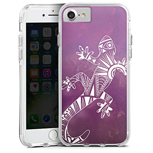 Apple iPhone X Bumper Hülle Bumper Case Glitzer Hülle Mandala Eidechse Gecko Bumper Case transparent