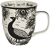 Karma, by Stephen Joseph Boho Black and White Peacock Mug, Multicolor