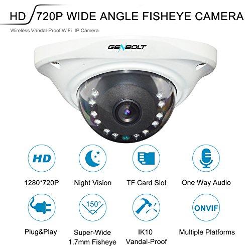 (FISHEYE) Vandalproof WiFi WLAN IP Überwachungskamera – GENBOLT Drahtlose Dome IP Sicherheits Kamera HD 720P,WiFi WLAN Kamera,Nachtsicht,Bewegungserkennung,Email Alarm,vorinstallierter 16GB SD-Karte