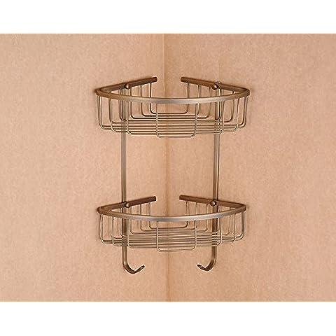 Filo di rame Accessori per bagno cesto triangolare ripiano angolo ripiani rame antico cremagliere treppiede