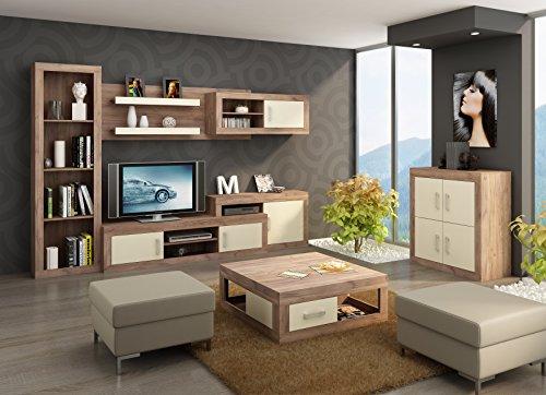 """Wohnzimmer Möbel Satz, TV Wohnwand """"VERIN 6"""" Große TV Bank, Bücherregal, Wandhängend Regal mit Vitrinen plus Kleine 4T Kommode und Kaffetisch. Craft Tobaco/Cream."""