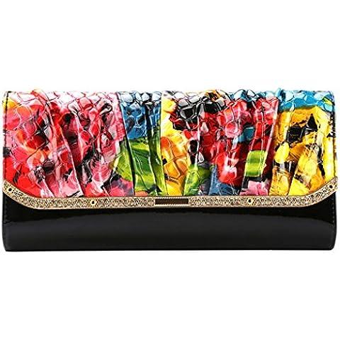 bolso de cuero del bolso de embrague de afluencia de las mujeres en Europa y América del nuevo cuero de patente de cartera de la cadena de la cena bolsa de diamantes ( Color : Painting Color )