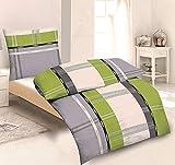 Dresscode Biancheria da letto in microfibra, copripiumino più grande del normale da 155 x 220 cm e federa da 80 x 80 cm, motivo a righe, colore grigio/verde mela, 2 pezzi