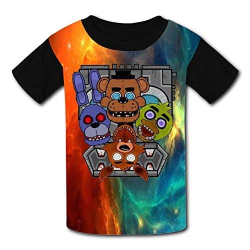 Kmehsv Schwarze Jugend Raglan T-Shirts, Five-Nights-at-Freddy FN-AF Short Sleeve Sports Sweat Tee for Teen Kids Boys Girls -