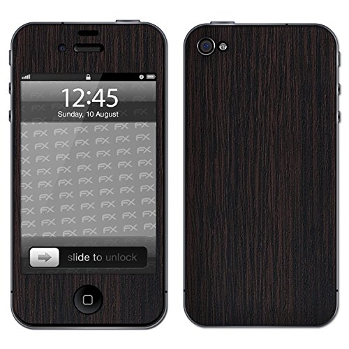 "Skin Apple iPhone 4 / 4s ""FX-Brushed-Black"" Designfolie Sticker FX-Wood-Dark-Wenge"