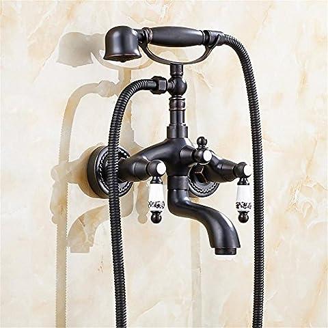 Shower European Antique all Copper Bath Faucet Brass Bathroom Exposed