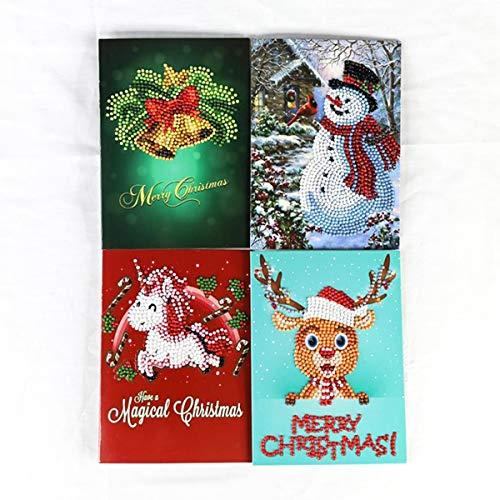 Diamant Malerei Mini Weihnachtsmann Weihnachtsmann Hirsch Elch Frohe Weihnachten Papier Gruß Postkarten Handwerk DIY Kinder Geschenk (Color : Style B(4pcs/Lot)) (Weihnachtsmann Postkarten)