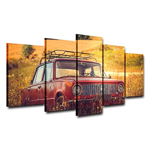 Five-Seller Auto Storiche Red off Road 5 Pezzi Stampe su Tela Dipinti Quadri Quadri Moderni Quadri Wall Art for Kitchen Home Decorations (con Cornice,75_x_150_cm)