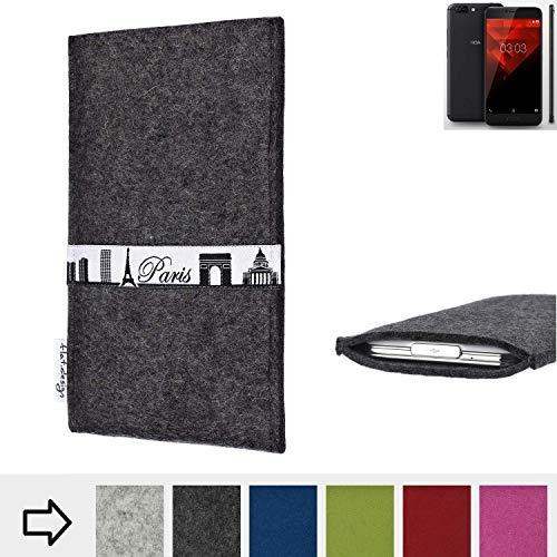 flat.design für NOA H10le Schutzhülle Handy Case Skyline mit Webband Paris - Maßanfertigung der Schutztasche Handy Hülle aus 100% Wollfilz (anthrazit) für NOA H10le