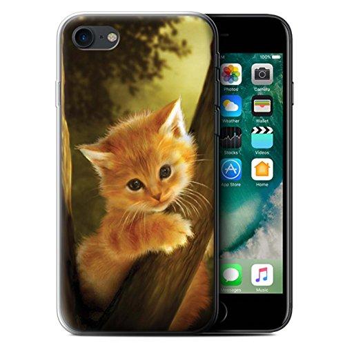 Officiel Elena Dudina Coque / Etui Gel TPU pour Apple iPhone 7 / Jacinthe Design / Les Animaux Collection Le Brave/Chaton