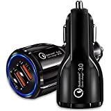TecMac Qualcomm Quick Charge Dual Ports Black Car Charger 3.0 Fast Charging For IPhone And Samsung Galaxy With All Type Phone Android Phone & More (Black)