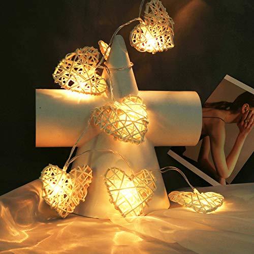 SpirWoRchlan Weihnachtsdekoration, 110 cm, 10 LEDs, Rattan-Lichterkette mit Herz-Motiv, Weihnachtsdekoration, Plastik, warmweiß, Einheitsgröße
