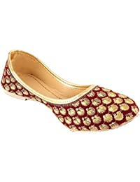 Shree Women's Red Synthetic Rajasthani Jaipuri Work Belly - 8