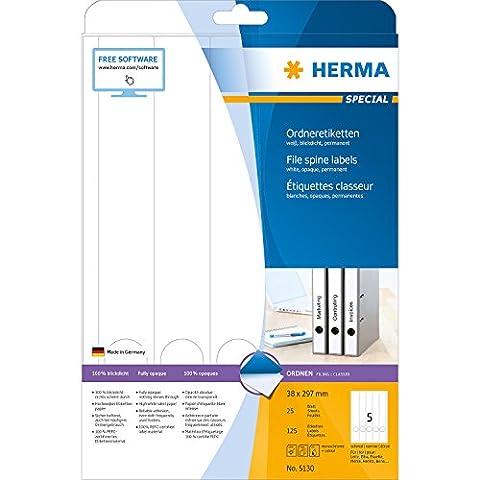 Herma 5130 Ordnerrücken Etiketten schmal/lang, blickdicht (38 x 297 mm auf DIN A4 Papier matt) 125 Stück auf 25 Blatt, weiß, selbstklebend