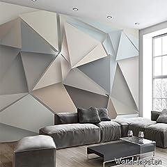 Idea Regalo - Tessuto non tessuto, carta da parati fotografica, sfondo murali in triangoli 3D, stile moderno IKEA KN-1901, XXL 400cm(B) x 280cm(H) 8-Bahne