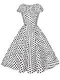 FAIRY COUPLE 1950S Retro Rockabilly Tupfen Kappen Hülsen Abschlussball Kleid DRT019(3XL,Weiße Kleine Schwarze Punkte)