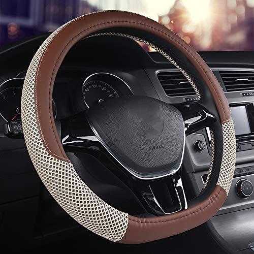 SWCAAE D-SerieMicro Fiber Leder Auto Lenkradbezüge 38CM / 15 '' Lenkradnaben Car Styling, fürGOLF 7 2015 POLO JATTA, lila -