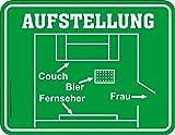 Original RAHMENLOS Blechschild zur Fußballübertragung - Aufstellung: Couch, Bier, TV hier - Frau raus!