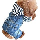 Camicia per cane di piccola taglia Maglia jeans tuta a quattro gambe abbigliamento Denim Salopette Cucciolo maglietta con cappuccio animale domestico Jumpsuit T-shirt per cuccioli piccoli cani (XL)