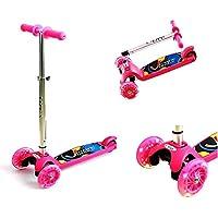 Patinete de 3 ruedas Patinete niño con 3 Brillante Ruedas Scooter Regulable de Altura Monopatín Portátil para Niños de 2 a 5 Años, rosa