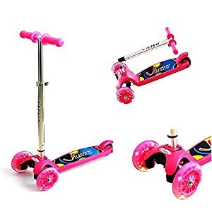 Mini Monopattino Regolabile in Altezza Kick Scooter con T-bar Deluxe Wide Deck 3 PU Lampeggiante Ruote Speciale Anti-rollover Design Perfetto per Bambini, Pink