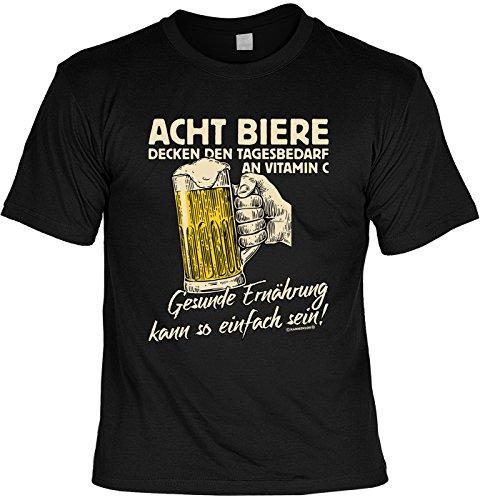 Lustiges Sprüche Shirt T-Shirt mit Urkunde Acht Biere Decken den Tagesbedarf an Vitamin C... Geschenkartikel Fun Artikel Partygeschenk Man Männer Geschenk -