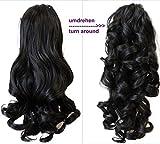 PRETTYSHOP 2 in 1 40cm e 50cm di estensioni dei capelli parrucca coda di cavallo fibre sintetiche ingombranti eresistente al calore nero marrone #2 H8-2