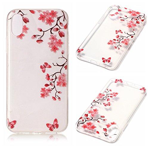 Cover Apple iPhone X, Voguecase Custodia Silicone Morbido Flessibile TPU Transparent Custodia Case Cover Protettivo Skin Caso (cuori rossi 05) Con Stilo Penna Farfalla Amore Fiore 02