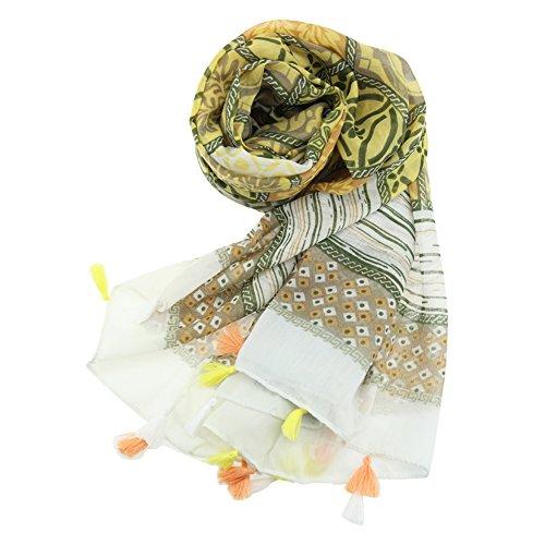 LUXFEEL Femmes Belles Écharpes En Mélange De Coton Pour Tous Les Saisons Style2