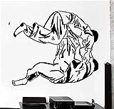 wandaufkleber baumstamm weiß Judo Jiu-Jitsu Wrestler kämpfen