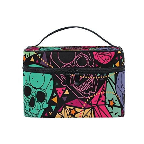 ALAZA Sac cosmétique abstraite colorée de crâne de maquillage Voyage cas de stockage Organisateur