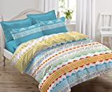 #3: Ahmedabad Cotton Comfort 144 TC Cotton Bedsheet with 2 Pillow Covers - Multicolour