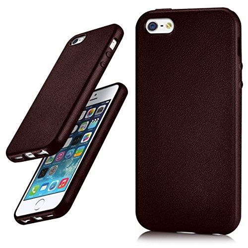 iPhone 5S Hülle Silikon Dunkel-Blau in Leder Optik [OneFlow Flex Back-Cover] Schutzhülle Etui Handy-Hülle für iPhone 5/5S/SE Case Ultra-Slim Silikonhülle Tasche BURGUNDY