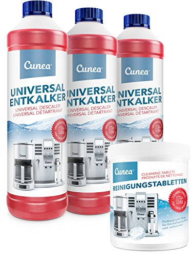 Cunea 3x 750ml Entkalker und 350x Reinigungstabletten - für alle Kaffeevollautomaten und Kaffeemaschinen