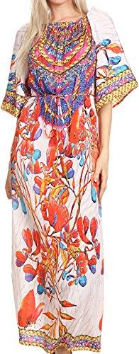 Sakkas P21 - Efiya Lange Printed Kaftan weg von der Schulter gekräuseltes Tie-Taillen-Maxi Kleid - 17036-Weiß / Rot - OS (Juwel Gedruckt Hals)