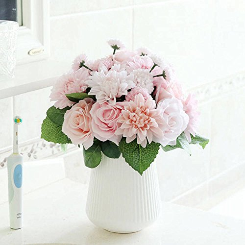 Unechte Blumen,Künstliche Deko Blumen Gefälschte Blumen Seidenrosen Plastik Dahlie Braut Hochzeitsblumenstrauß für Haus Garten Party Blumenschmuck 8 Zweig 10 Köpfe (Rosa)